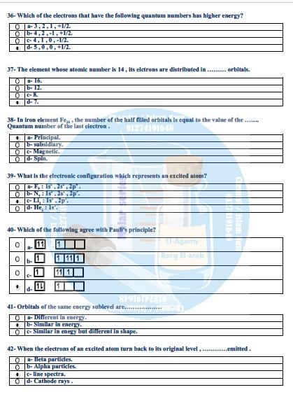 مراجعة ليلة امتحان chemistry للصف الثاني الثانوي ترم اول