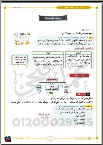 مذكرة السلطان في الدراسات الاجتماعية للصف الاول الاعدادي ترم ثاني