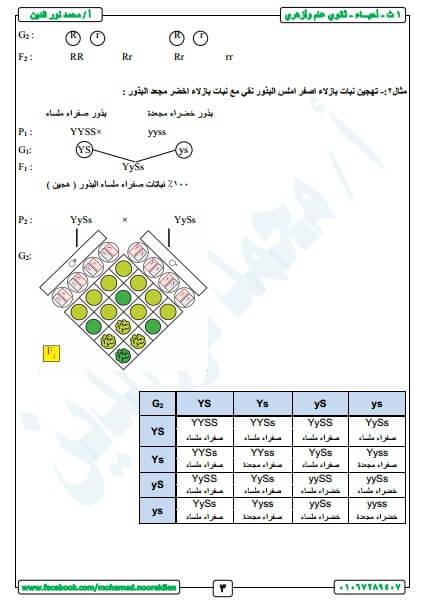 مذكرة مادة الأحياء الصف الأول الثانوي الترم الثاني