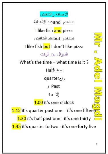 ملخص قواعد اللغة الانجليزية للصف الثالث الابتدائي الترم الأول