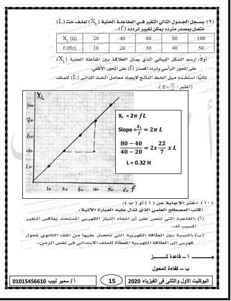 اجابات البوكليت الأول والثاني التجريبي فيزياء ثانوية عامة