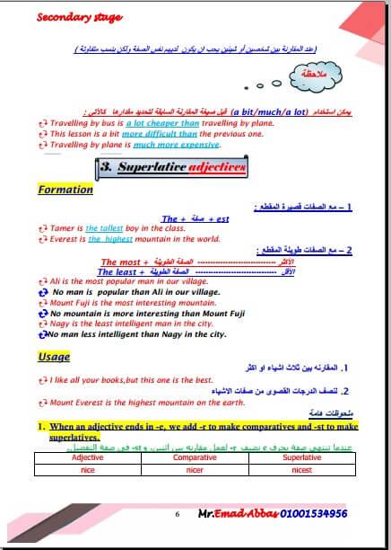ملخص قواعد اللغة الانجليزية للصف الثاني الثانوي ترم اول