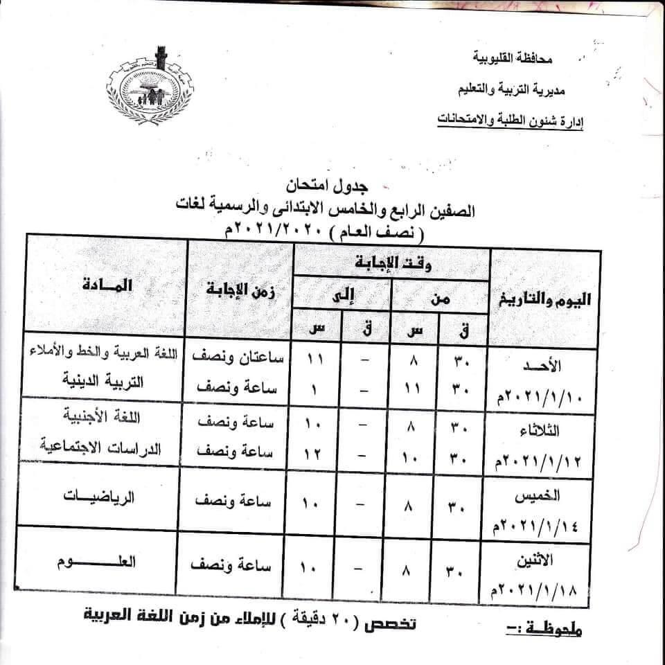 جدول امتحانات الصفين الرابع والخامس الابتدائي نصف العام محافظة القليوبية 2021