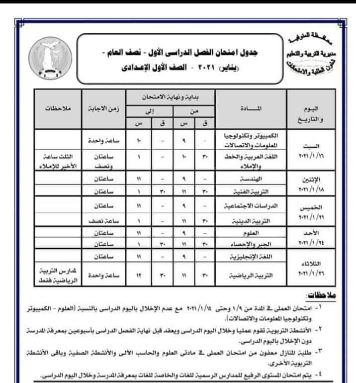 جدول امتحانات الصف الأول الاعدادي نصف العام محافظة المنوفية 2021