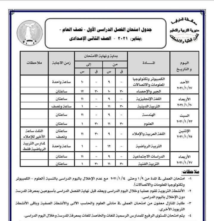 جدول امتحانات الصف الثاني الاعدادي نصف العام محافظة المنوفية 2021