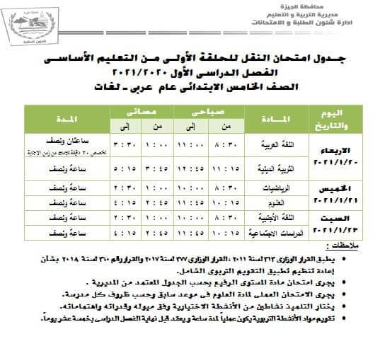 جدول امتحانات الصف الخامس الابتدائي نصف العام محافظة الجيزة 2021