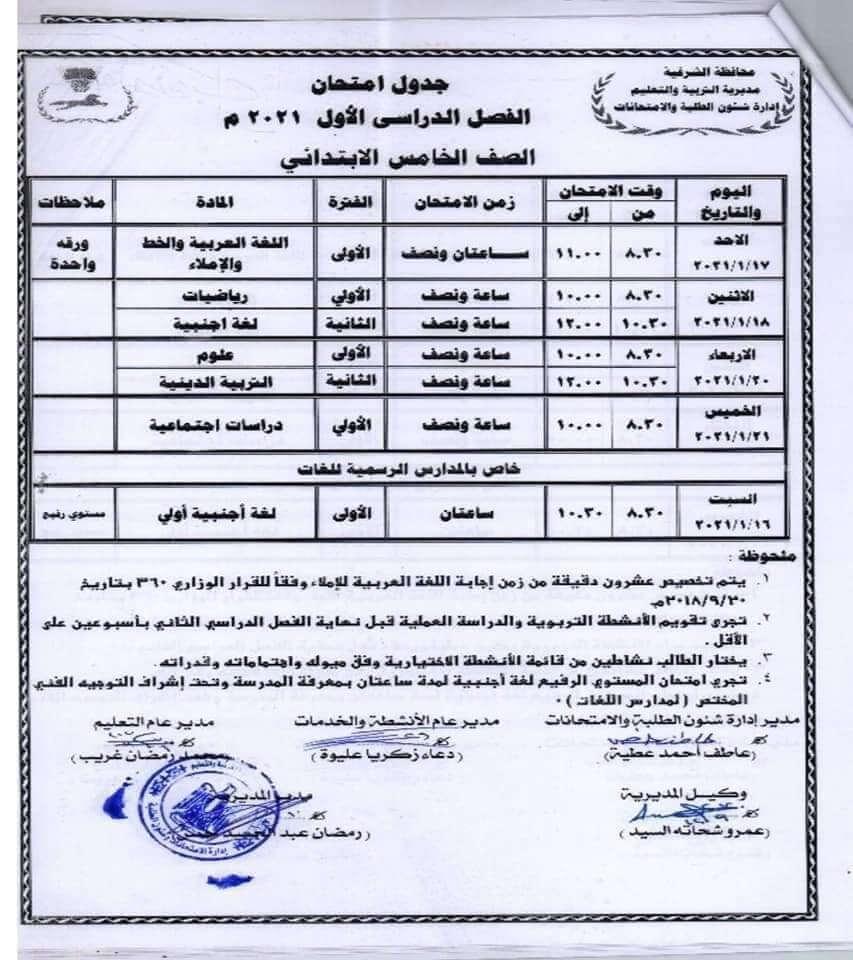 جدول امتحانات الصف الخامس الابتدائي نصف العام محافظة الشرقية 2021