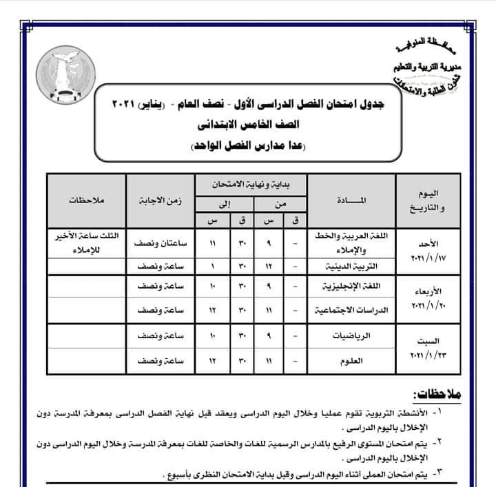 جدول امتحانات الصف الخامس الابتدائي نصف العام محافظة المنوفية 2021