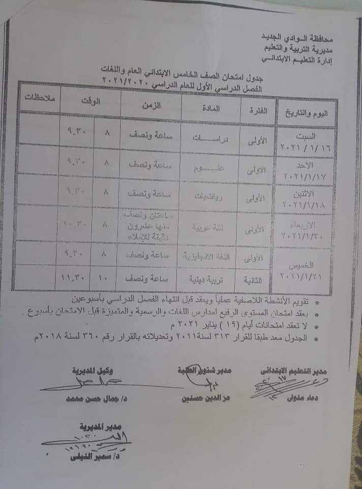 جدول امتحانات الصف الخامس الابتدائي نصف العام محافظة الوادي الجديد 2021