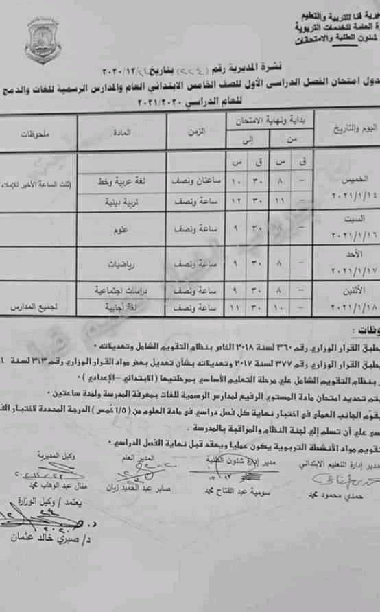 جدول امتحانات الصف الخامس الابتدائي نصف العام محافظة قنا 2021