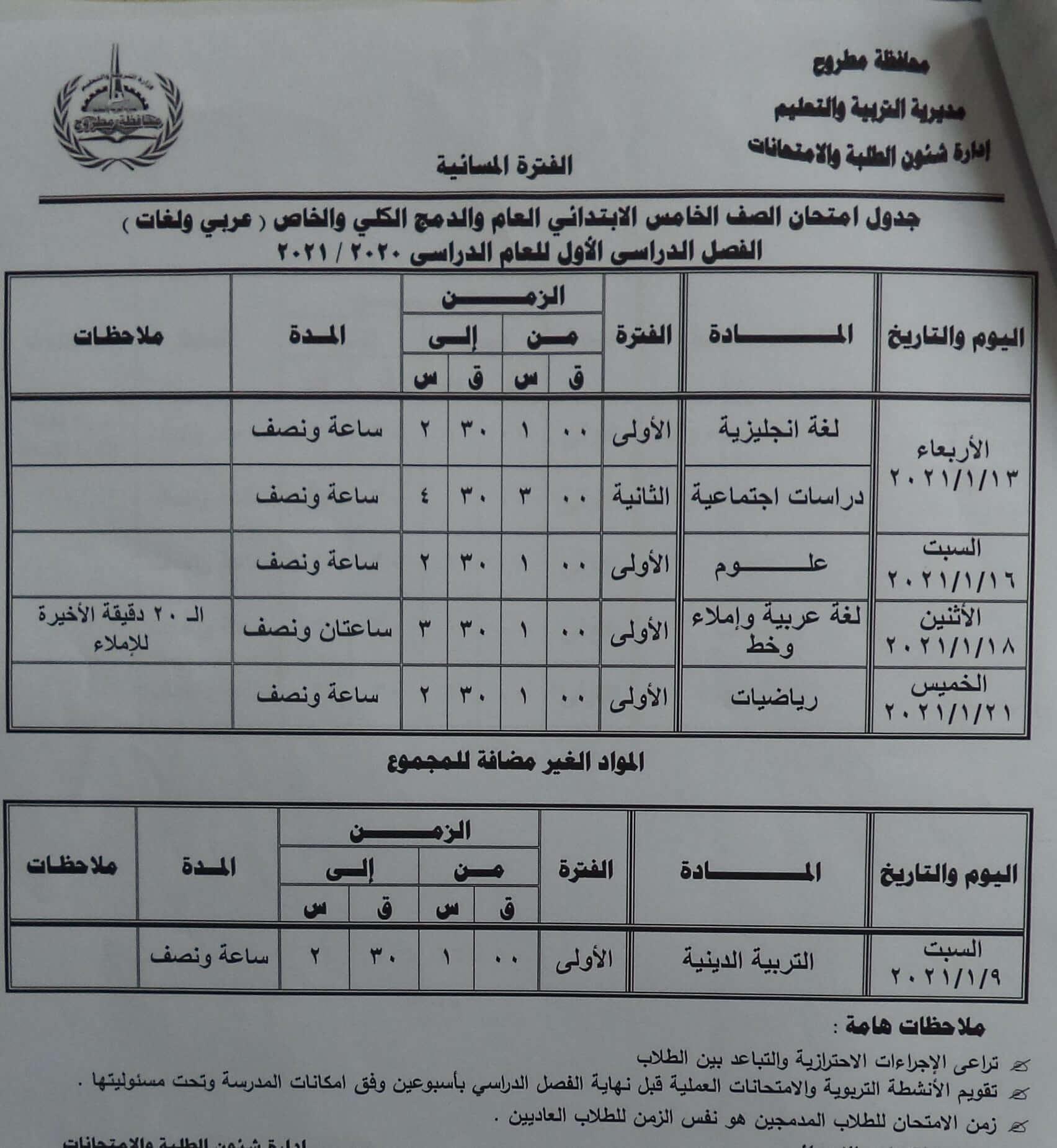 جدول امتحانات الصف الخامس الابتدائي نصف العام محافظة مطروح 2021 2