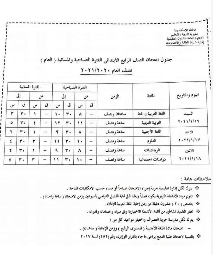 جدول امتحانات الصف الرابع الابتدائي نصف العام محافظة الاسكندرية 2021