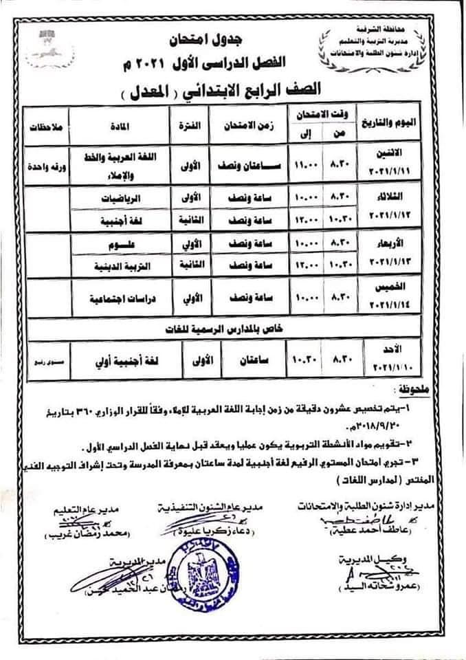 جدول امتحانات الصف الرابع الابتدائي نصف العام محافظة الشرقية 2021 المعدل