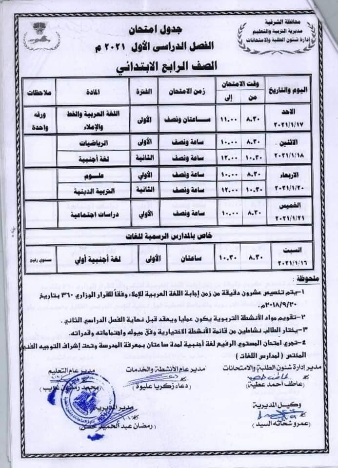 جدول امتحانات الصف الرابع الابتدائي نصف العام محافظة الشرقية 2021