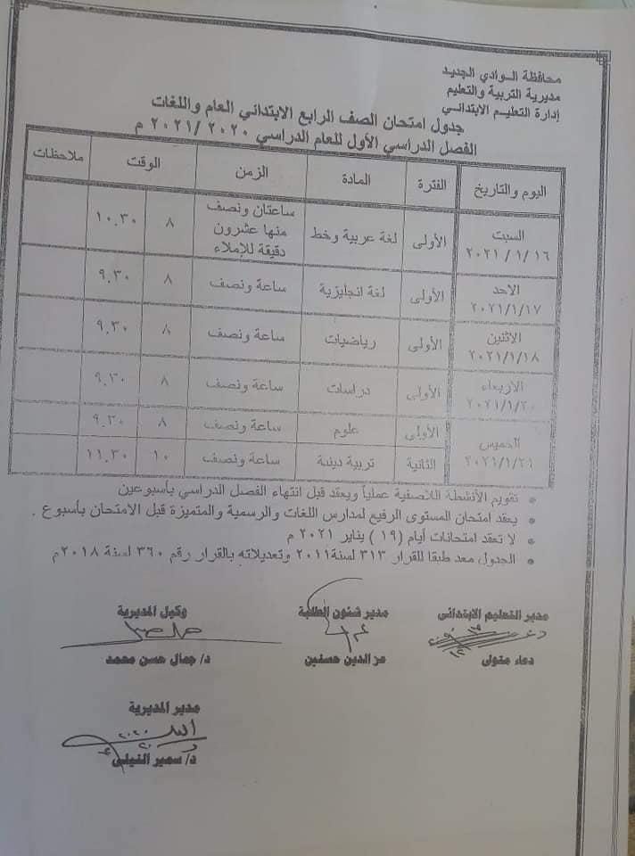 جدول امتحانات الصف الرابع الابتدائي نصف العام محافظة الوادي الجديد 2021