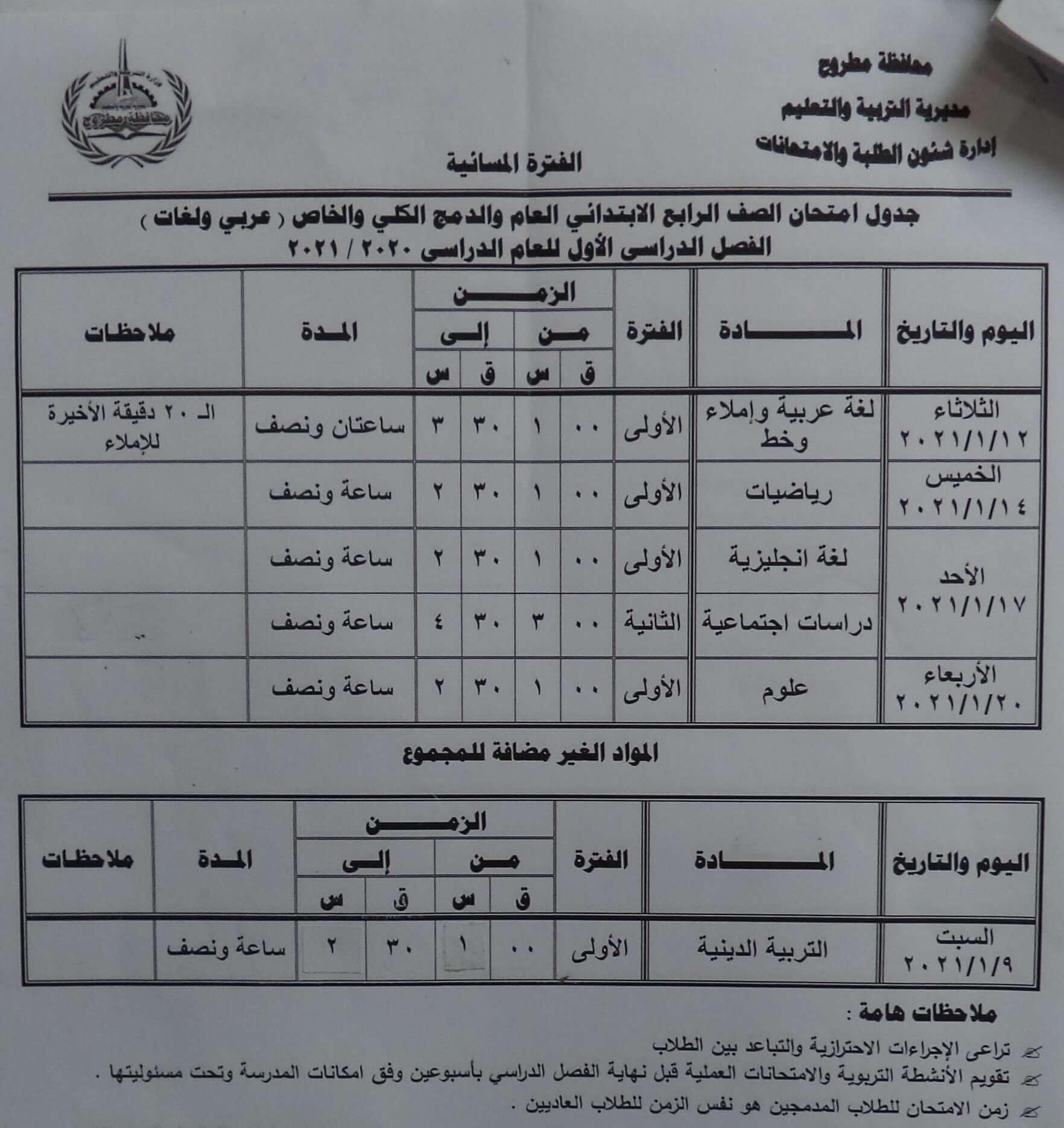 جدول امتحانات الصف الرابع الابتدائي نصف العام محافظة مطروح 2021 2