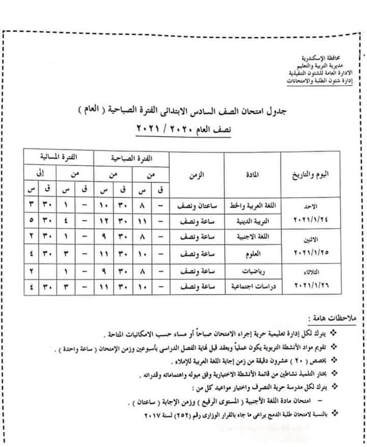 جدول امتحانات الصف السادس الابتدائي نصف العام محافظة الاسكندرية 2021