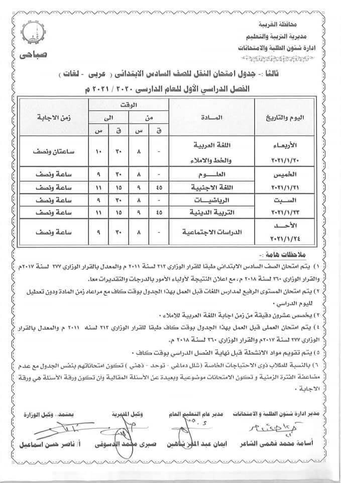 جدول امتحانات الصف السادس الابتدائي نصف العام محافظة الغربية 2021 1
