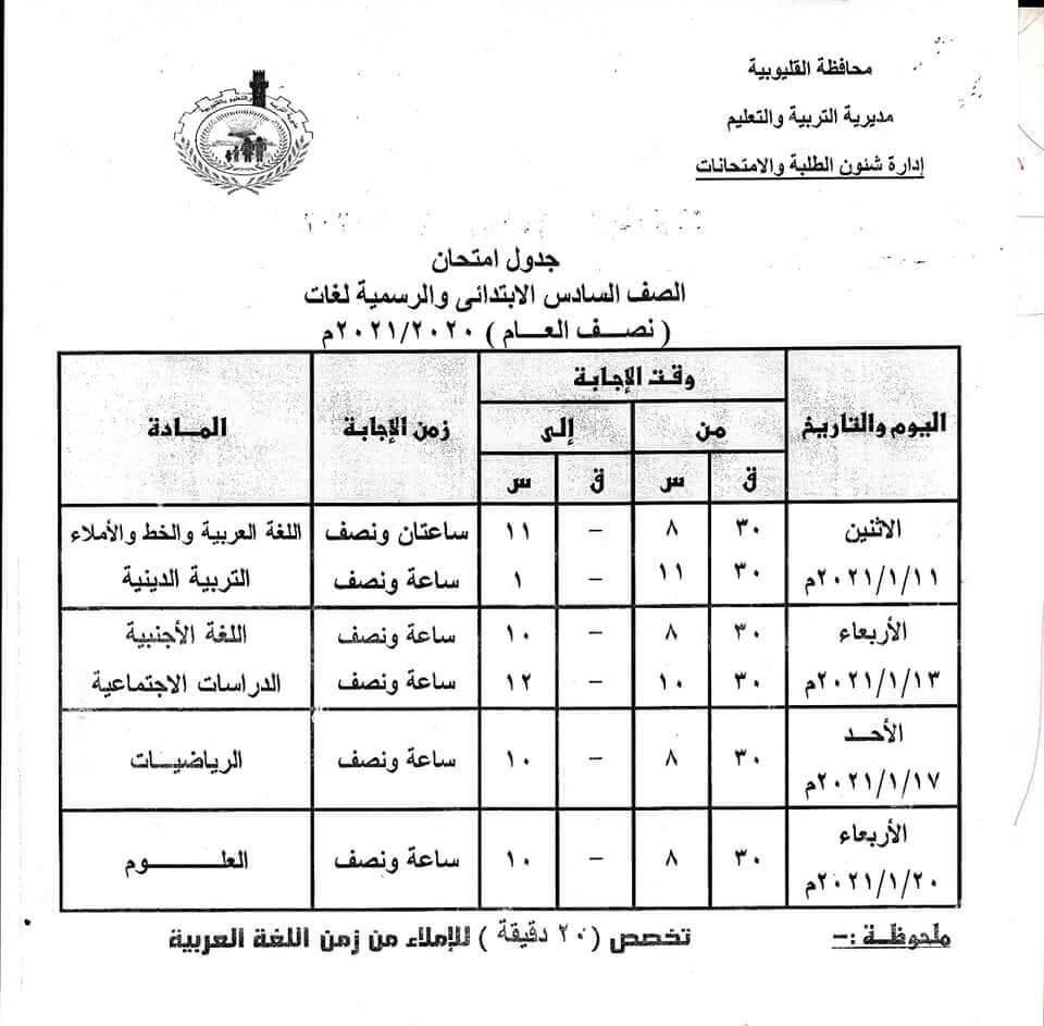 جدول امتحانات الصف السادس الابتدائي نصف العام محافظة القليوبية 2021