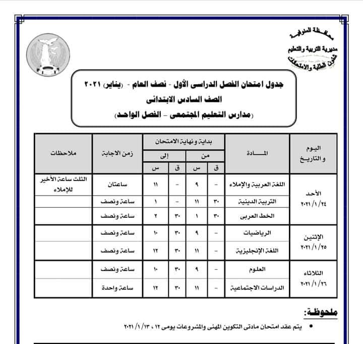 جدول امتحانات الصف السادس الابتدائي نصف العام محافظة المنوفية 2021