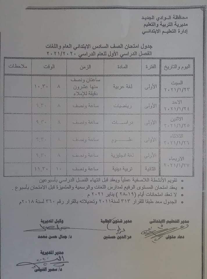 جدول امتحانات الصف السادس الابتدائي نصف العام محافظة الوادي الجديد 2021