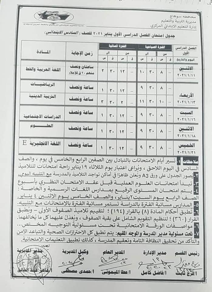 جدول امتحانات الصف السادس الابتدائي نصف العام محافظة سوهاج 2021