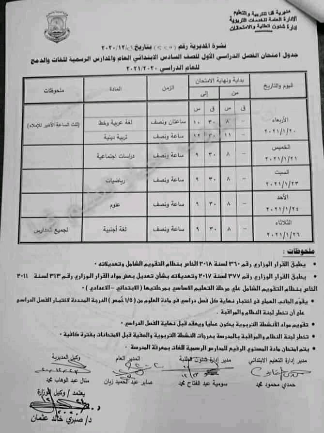 جدول امتحانات الصف السادس الابتدائي نصف العام محافظة قنا 2021