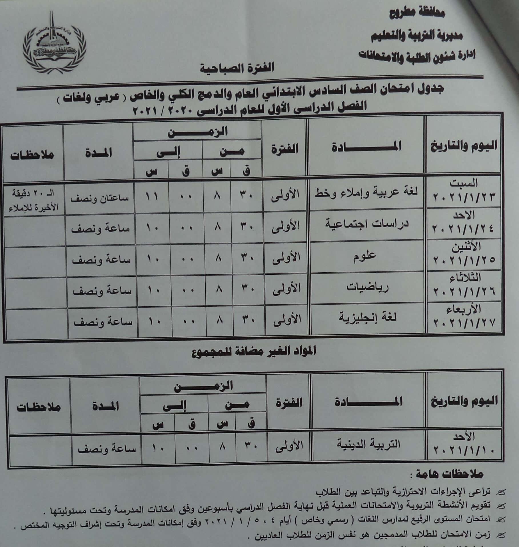 جدول امتحانات الصف السادس الابتدائي نصف العام محافظة مطروح 2021 1