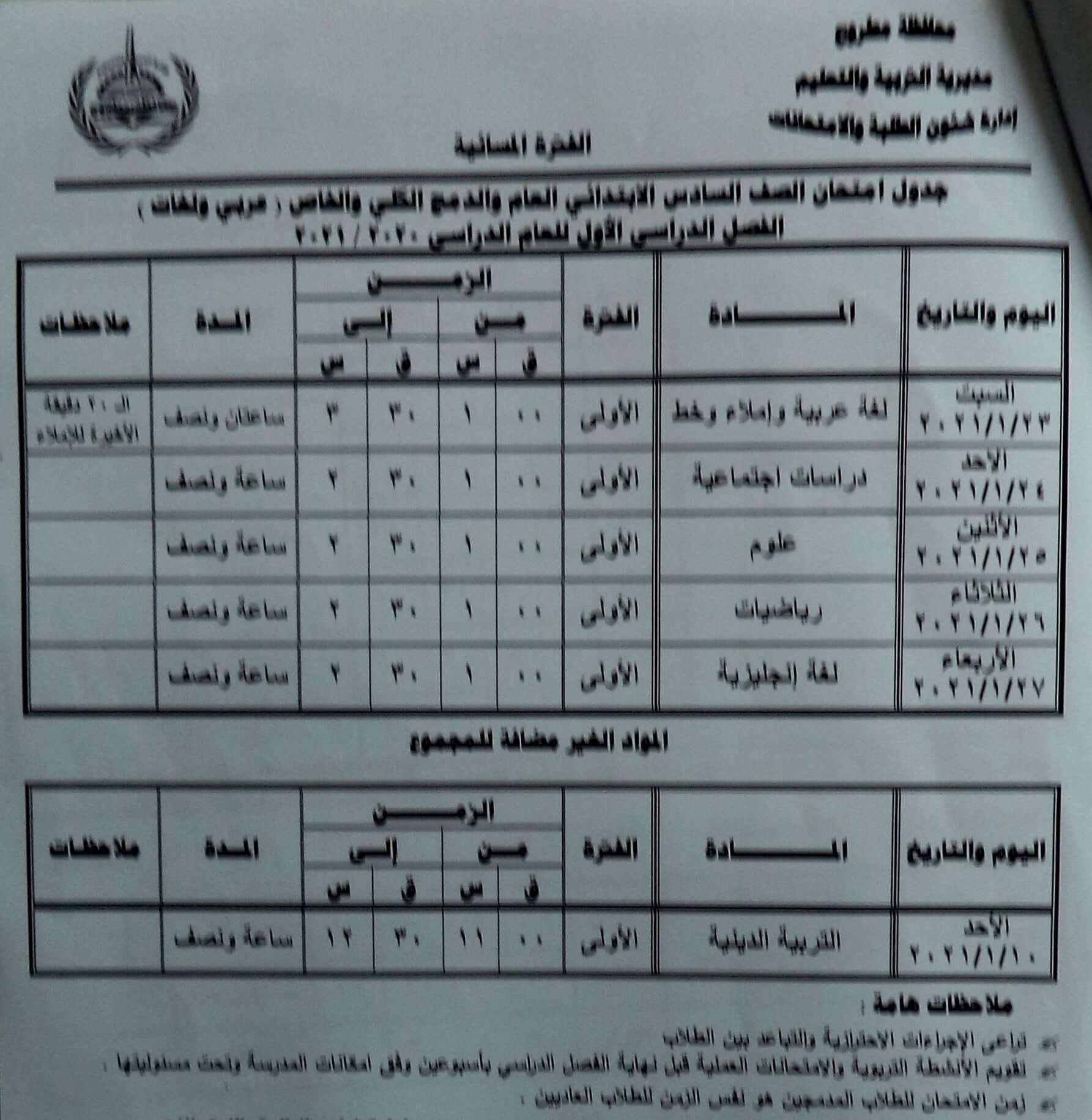 جدول امتحانات الصف السادس الابتدائي نصف العام محافظة مطروح 2021 2