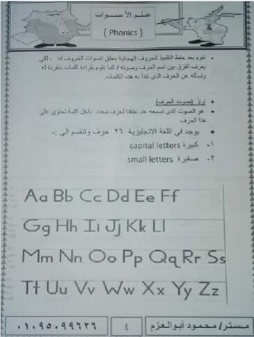 مذكرة تأسيس إنجليزي لتعليم الحروف والأرقام والأصوات1