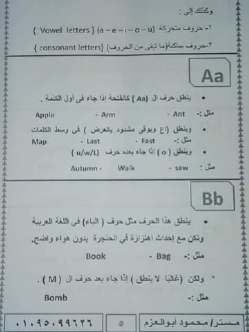 مذكرة تأسيس إنجليزي لتعليم الحروف والأرقام والأصوات2
