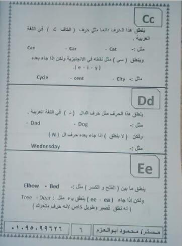 مذكرة تأسيس إنجليزي لتعليم الحروف والأرقام والأصوات3