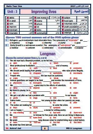 ملخص الانجليزي للصف الاول الثانوي ترم أول 3